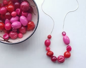 unmentionables necklace - remixed vintage lucite - fuchsia pink raspberry lipstick red