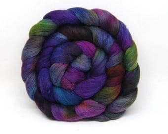 Handpainted Merino Wool Roving - Acid Rainbow - 4 oz Pink Blue Purple Green