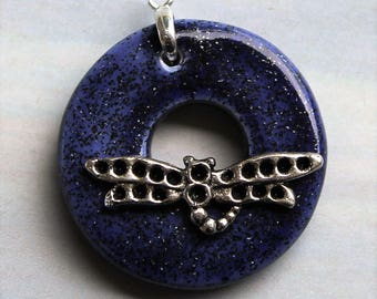 Sparkly Blue Dragonfly - Jewelry Clasp - Circle Ceramic Toggle Clasp