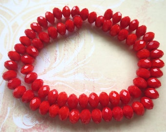Red faceted glass beads large