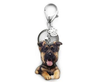 German Shepherd Puppy Dog Shaking Head Keychain / Bag Charm - SB050BK-BD41 / Dog keychain / Pet loss / Dog ID tag / Pet memorial / Dog lover