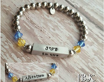 Joy in the Adventure beaded bar bracelet