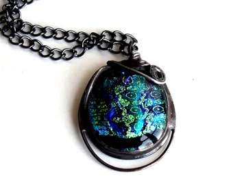 OOAK Wire Sculpted Fused Glass Dichroic Pendant - Stained Glass Jewelry