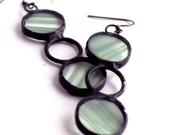 OOAK Green Baroque Stained Glass Dangle Earrings - Stained Glass Jewelry