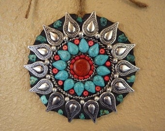 Southwestern, Western, Native American Style, Boho Mosaic Medallion Wall Hanging with Genuine Turquoise Gemstones Ready to Ship