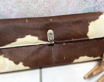 Vintage brown beige hair calf clutch/shoulder bag, made Argentina rectangular warm rust brown calf hair clutch purse, hair calf handbag