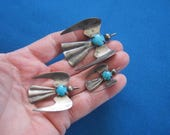 Vintage 1960s Sterling Silver and Turquoise Mexico Modernist Lot of 3 Bird Brooch Set