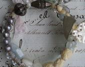 She Sells Sea Shells - Vintage Assemblage, Gemstone Bracelet