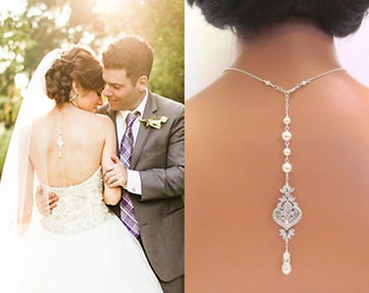 Backdrop Bridal necklace, Wedding back drop necklace, Pearl Backdrop necklace, Pearl necklace, Bridal crystal necklace, Bridal jewelry, EMMA