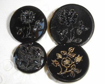 Old Victorian Black Glass Buttons with Floral design - 4 Antique Black Glass Buttons with Flowers