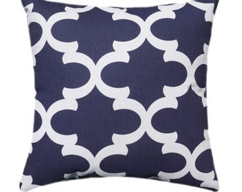 Navy Blue Pillows, Blue STUFFED Pillow, Navy Pillows, Accent Pillow, Decorative Pillow, Moroccan Tile Pillow, Navy Toss Pillow - Free Ship