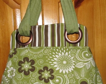 Green Brown and Cream Bella Bag With Grommets