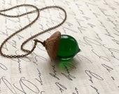 Glass Acorn Necklace - Transparent Emerald Green - by Bullseyebeads