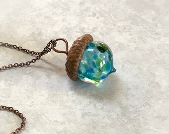 Glass Acorn Necklace - Deep Blue Sea - by Bullseyebeads