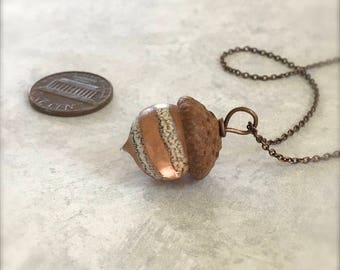 Glass Acorn Necklace - Etched Silvered Spiral Peach - by Bullseyebeads