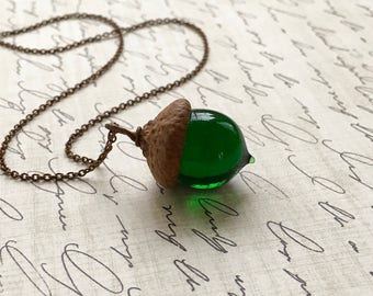 Glass Acorn Necklace - Transparent Emerald Green - by Bullseyebeads