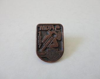 VINTAGE 1987 HARLEY davidson mda lapel jacket vest PIN