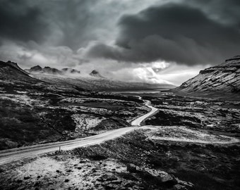 Iceland Art, Ring Road, Night Sky Print, Black and White Landscape Photography, Monochrome Art, Nature Prints,Hanging Clouds,Travel Pictures