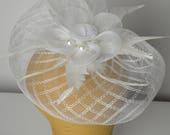 White Fascinator, White Feathered Fascinator, Feathered Cap, Half Hat, Mini Hat, Cocktail Hat, Bridal Fascinator, Wedding Fascinator