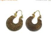 "ON SALE Bohemian Earrings, Large Hoops, India Brass, Big Statement, Vintage Pierced, Ethnic Tribal, 2"" Long, Festival Jewelry, Filagree, Flo"