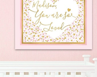 Personalized You are so Loved Pink Gold Stretched Canvas Children's Bedroom Wall Art CS0072
