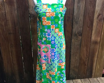 Vintage 70s Maxi Dress Daisy FLoWERS Sundress Mod Orange Pink Green PSYCHeDeLIC BOHO HiPPiE Disco Small Medium