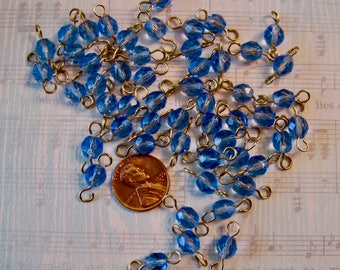 Vintage Blue Faceted Glass Beads, ready to assemble