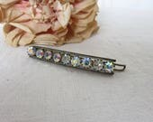 Vintage French Diamante Rhinestone Hair Slide Clip, Rainbow Stones, 1950s 1960s Hair Slide, Vintage Accessory, Vintage Costume Jewelry