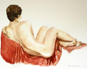 watercolor painting of a  nude woman