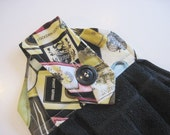 Button top towel  oven door hanging towel Wine Bottles  black towel Quiltsy handmade