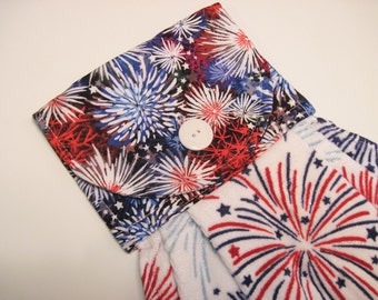 Kitchen Oven door Towel  with hot pad set  patriotic red white and blue fireworks Quiltsy handmade
