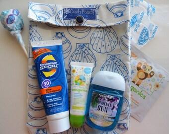 New! Sea Shells Ouch Pouch Medium 5x7 Clear First Aid & Cosmetics Organizer Girls Women Overnights Dorm Spring Break Beach Bag