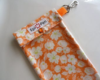 Epi Pen Carrier with ID Card Easy to View Clear Front Swivel Clip 4x8 Holds 1 - 2 Dual Allergy Auto Injector Pens - Orange Buttercup Fabric