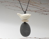 Nature necklace,Spirit Bird and beach stone Necklace , handmade ceramic bird, a personal talisman,mixed media, nature