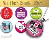 Nifty Nurses - One (1x1) Inch (25mm) Round Pendant Images - Digital Collage Sheet - Buy 2 Get 1 Free - Digital Download - Automatic Download
