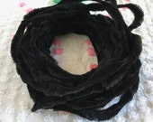 """Vintage BLACK Bump Chenille Fuzzy Wire Stems - By The Yard - Pipe Cleaner - Hard to Find - 3"""" Bumps"""