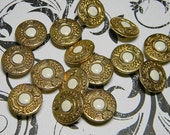 Beautiful Fancy Metal Buttons~Vintage New Two Piece~Crowns~Leaf Braid~White Enamel Center~Gold Metal