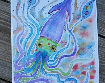 Watercolor Squid Print 8.5 x 11 inch