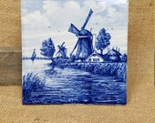 Vintage Delft Holland illustrated ceramic blue decorative tile wall hanging decor windmill on river boat