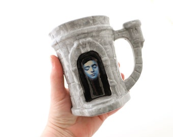 Game of Thrones mug - arya stark - hall of faces - House of Black and White - faceless men - GOT fan art - winterfell