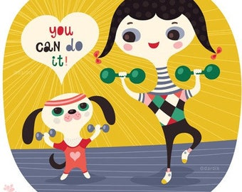 you can do it... limited edition giclee print of an original illustration (8 x 8 in, 20 x 20 cm)