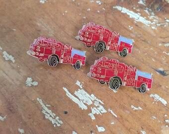 The Vintage Red Firefighter Truck Enamel Pin Set