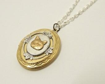 cat locket // brass cat necklace