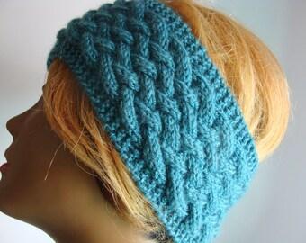 Extra Wide,Warm and Wonderful Knit Acrylic Dark Turquoise or Teal Ear Warmer Headband