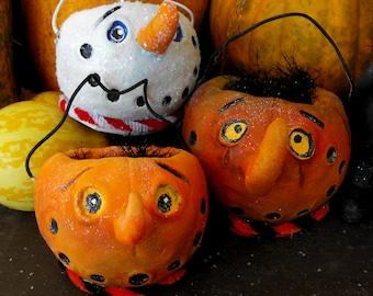 Halloween Spooky Cute Pumpkin bucket pail  JOL ornament