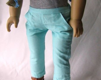 "18"" Doll pants - Light Blue Cotton pants - pockets - Ready to ship"