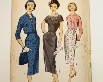 Vintage, 1950s Sewing Pattern, Advance 8523, Misses' Dress and Bolero, Misses' Size 14, UNCUT Pattern, FF