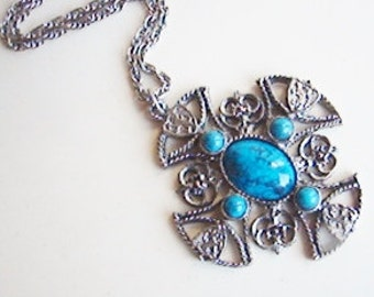 Vintage long silver and turquoise blue cross necklace (N)