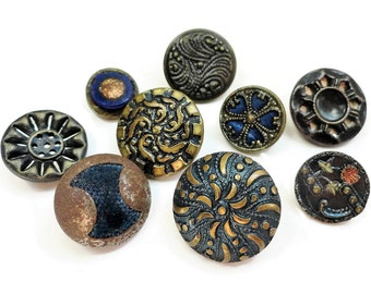 9 Antique Victorian Metal Buttons - 1800s Vintage for Steampunk Jewelry Beads Sewing Knitting 1/2 to 3/4 inch