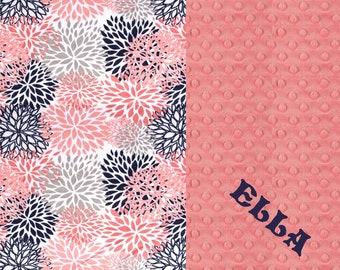 Personalized Baby Blanket For Girl / Minky Baby Blanket, Navy Flower Baby Blanket - Nursery Decor / Coral Baby Blanket / Name Blanket